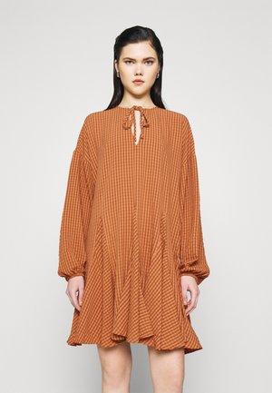OVERSIZE Mini dress with godets - Day dress - rust orange