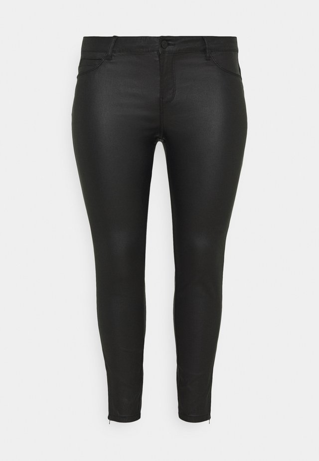 NMKIMMY NW COATED ANKLE PANTS - Tygbyxor - black
