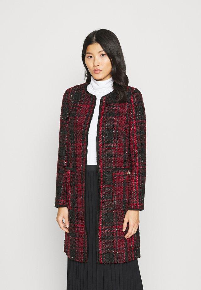 CHECK COLLARLESS COAT - Blazer - red