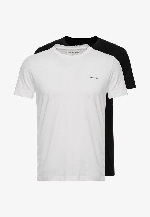 SLIM 2 PACK - Basic T-shirt - bright white/black beauty