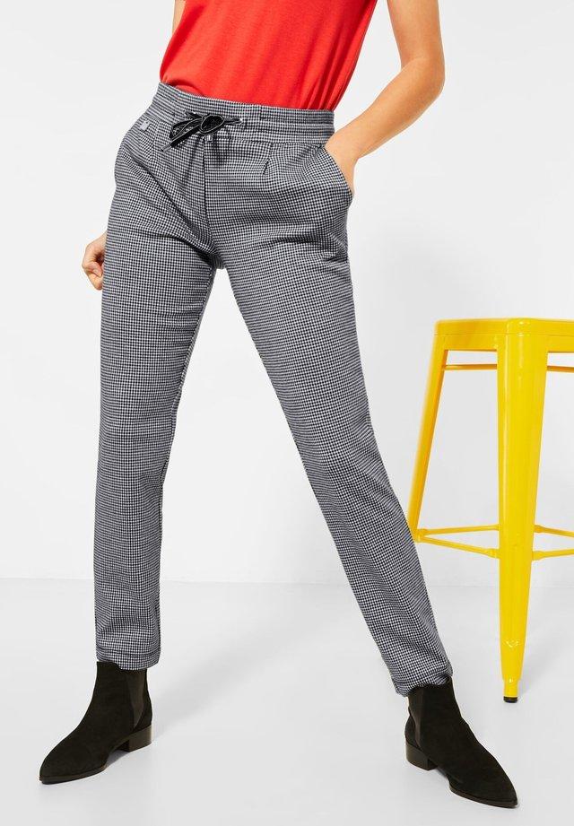 JERSEYHOSE MIT HAHNENTRITT - Trousers - schwarz