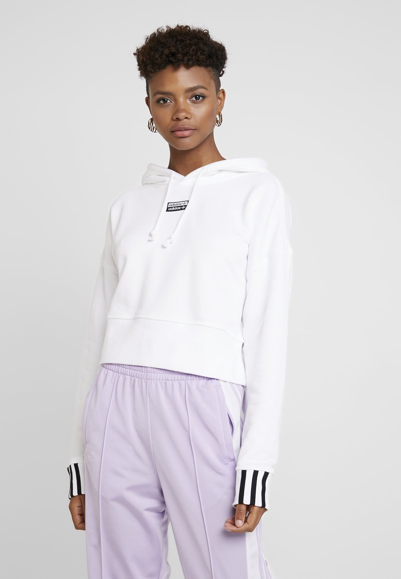 adidas Originals - CROP HOOD - Bluza z kapturem - white