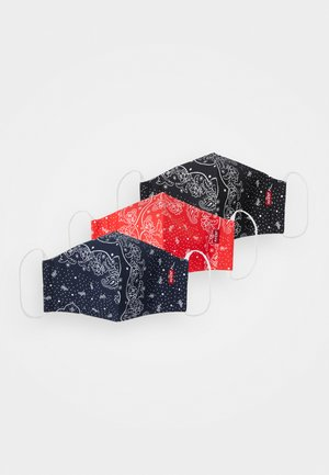 REUSABLE BANDANA FACE COVERING UNISEX 3 PACK - Stoffen mondkapje - blue/black/red