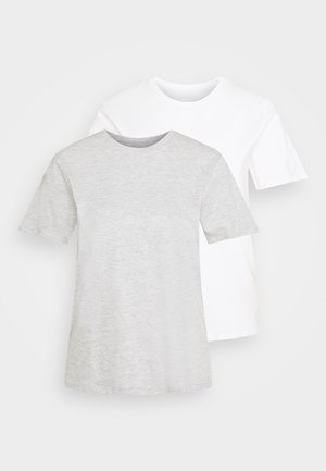 2 PACK - Basic T-shirt - white/grey