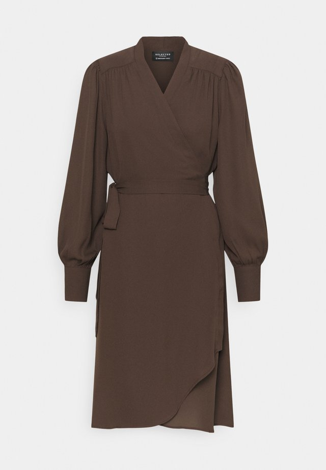 SLFALVA WRAP DRESS  - Day dress - coffee bean