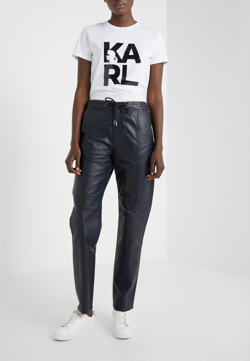 KARL LAGERFELD - CARGO PANTS - Leather trousers - peacoat