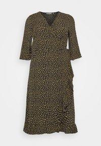 ONLY Carmakoma - CARLUXIVY 3/4 WRAP CALF DRESS - Day dress - black - 4