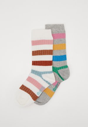 KIDS SOCKS STRIPES 2 PACK - Socks - latte/silber melange