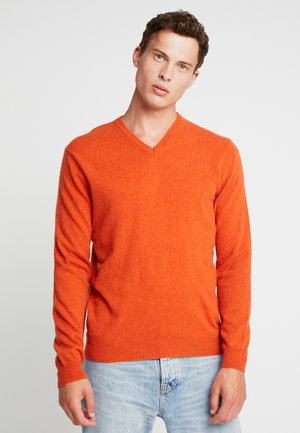 BASIC V NECK - Jumper - orange melange