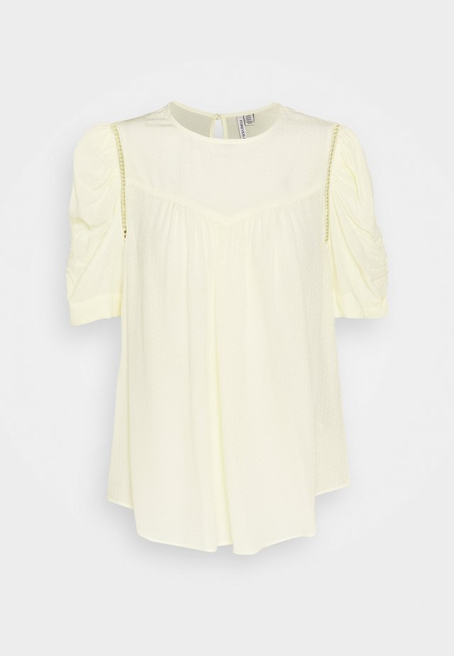TRIM INSERT SLEEVE BLOUSE - Bluzka - lemon icing