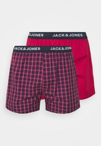 Jack & Jones - CHECK TRUNKS 2 PACK - Trenýrky - red bud/red bud - 4