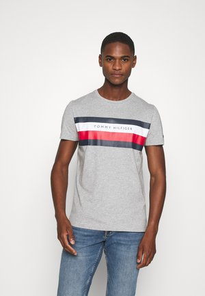 STRIPE TEE - T-shirt z nadrukiem - grey