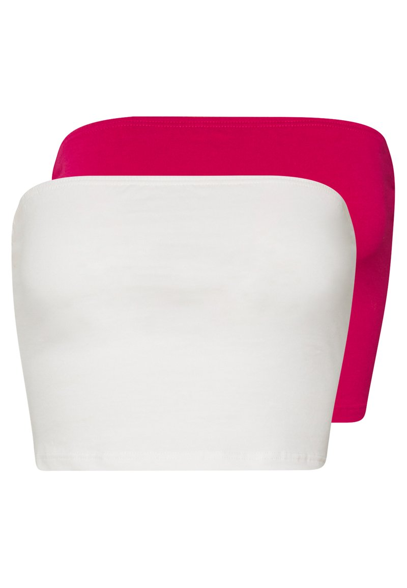 Glamorous - BANDEAU CROP TUBE 2 PACK - Topper - white/cerise pink