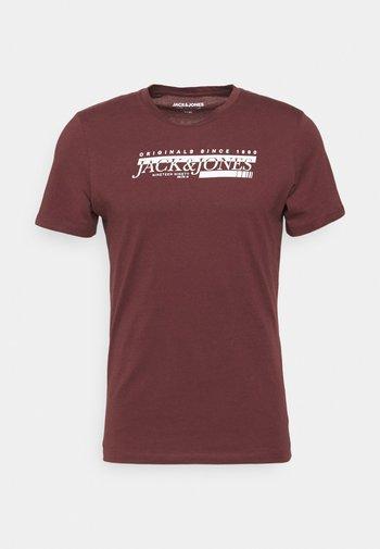 JORCLAY MONOCHROM TEE CREW NECK - T-shirt print - bordeaux