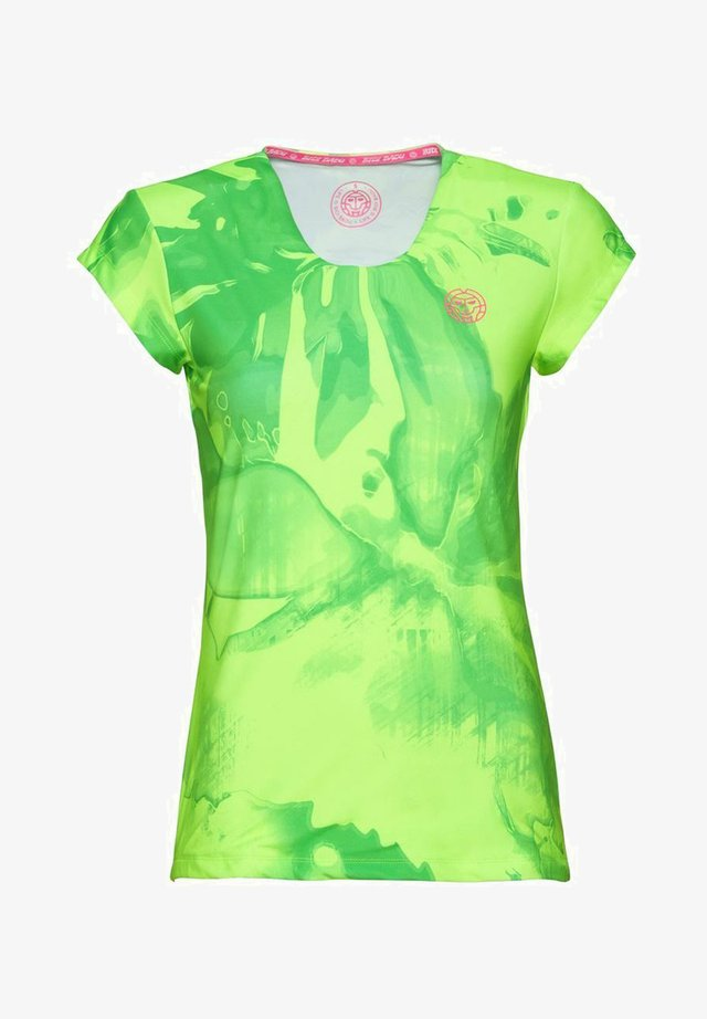 LEOTIE TECH ROUNDNECK TEE - Print T-shirt - neon green/pink