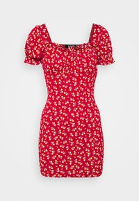 Missguided - DITSY FRILL DETAIL PUFF SLEEVE DRESS - Jerseykjole - red - 3