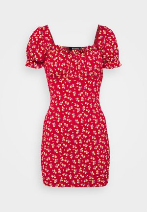 DITSY FRILL DETAIL PUFF SLEEVE DRESS - Jersey dress - red
