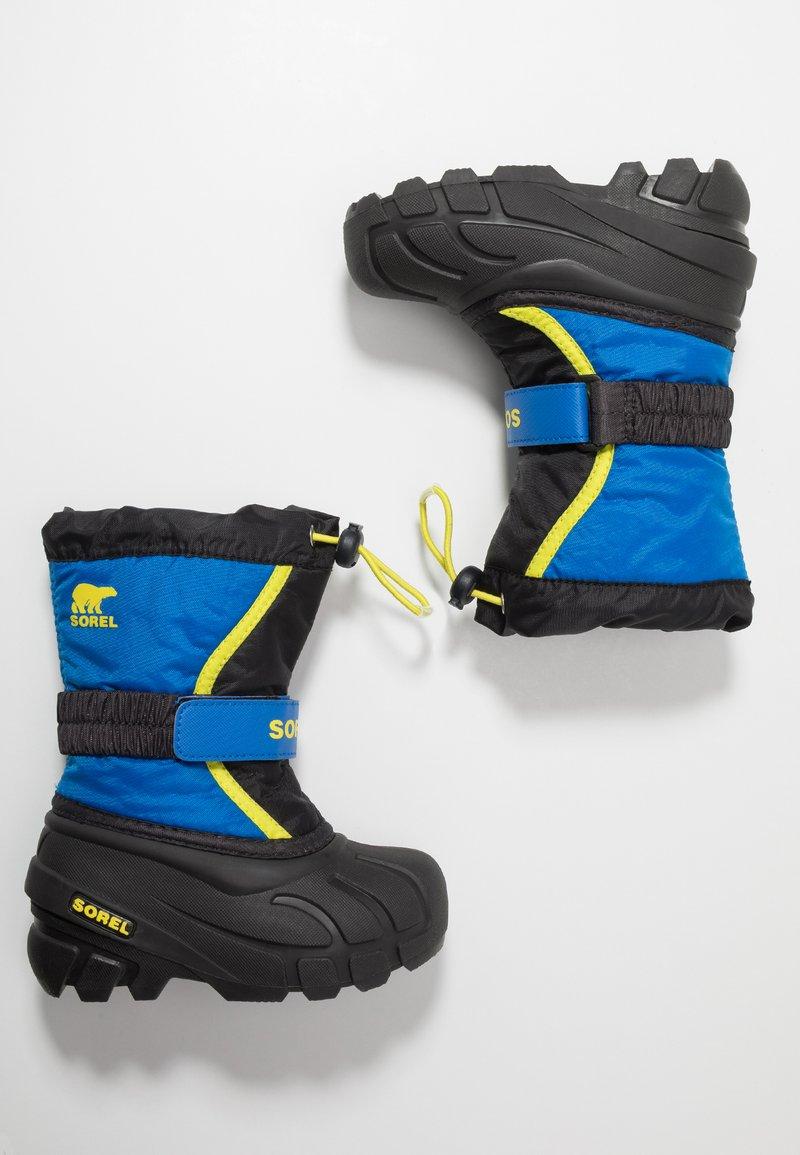 Sorel - YOUTH FLURRY - Zimní obuv - black/super blue