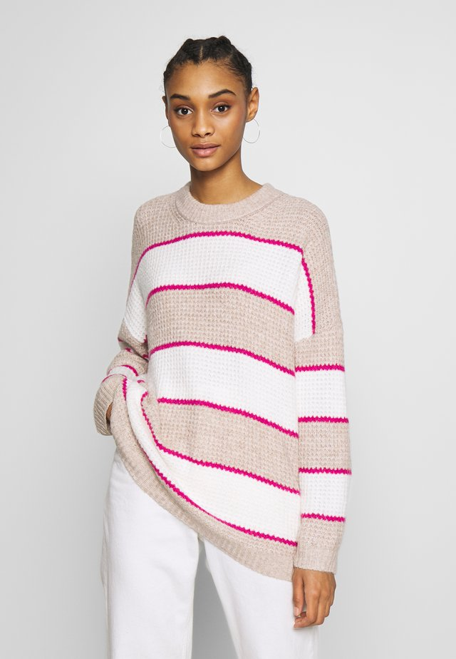 RUGBY STRIPE OVERSIZED JEGGING PULLOVER - Neule - oatmeal