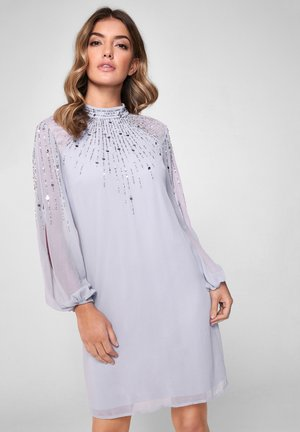 EMBELLISHED LONG SLEEVED SHIFT DRESS - Shift dress - blue