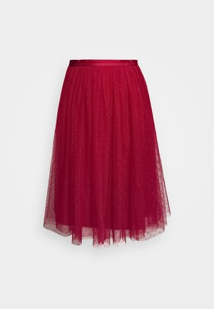 KISSES MIDI SKIRT EXCLUSIVE - A-line skirt - deep red