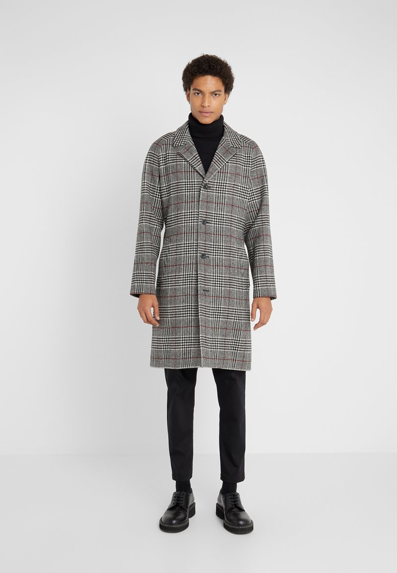 Editions MR - TRISTAN BELTED COAT - Cappotto classico - black/white/ruby