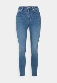 HIGH WAIST RAW HEM - Jeans Skinny Fit - mid blue