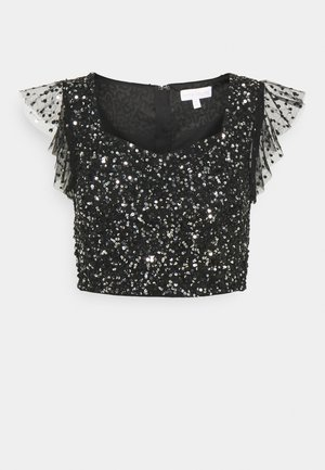 FLUTTER SLEEVE DELICATE SEQUIN CROP - T-Shirt print - black
