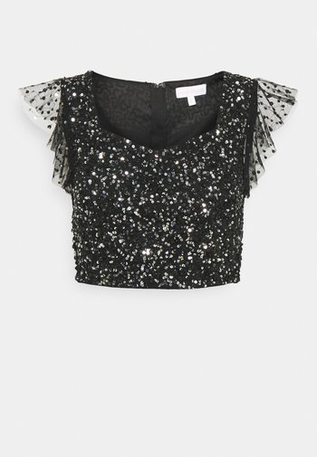 FLUTTER SLEEVE DELICATE SEQUIN CROP