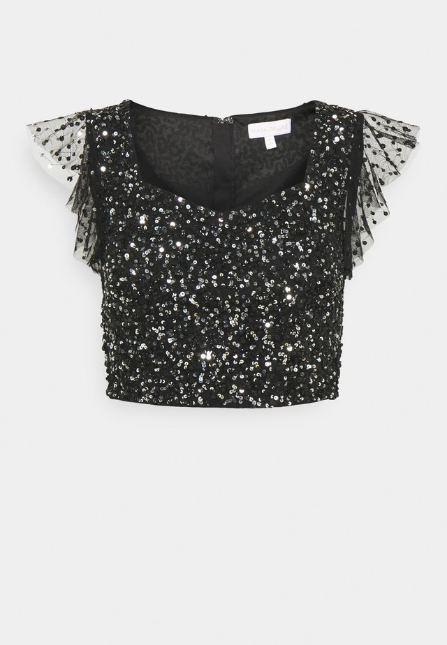 FLUTTER SLEEVE DELICATE SEQUIN CROP - Print T-shirt - black