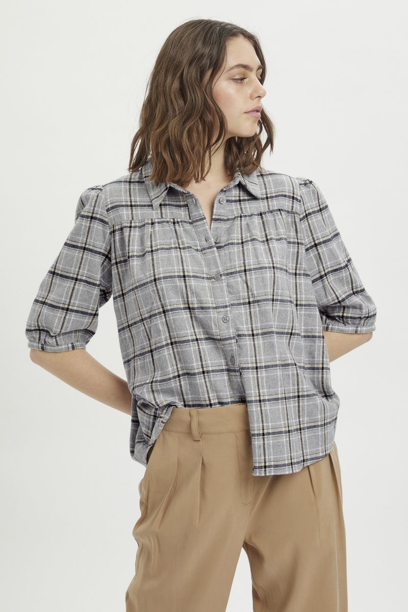 My Essential Wardrobe - MWBELLE PUFF - Button-down blouse - charcoal gray check