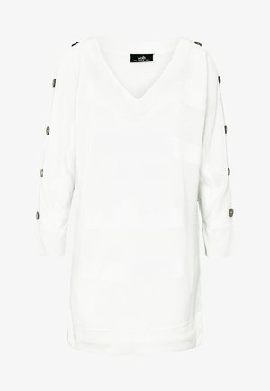 V NECK AIRTEX STRIPE JUMPER - Strickpullover - ivory