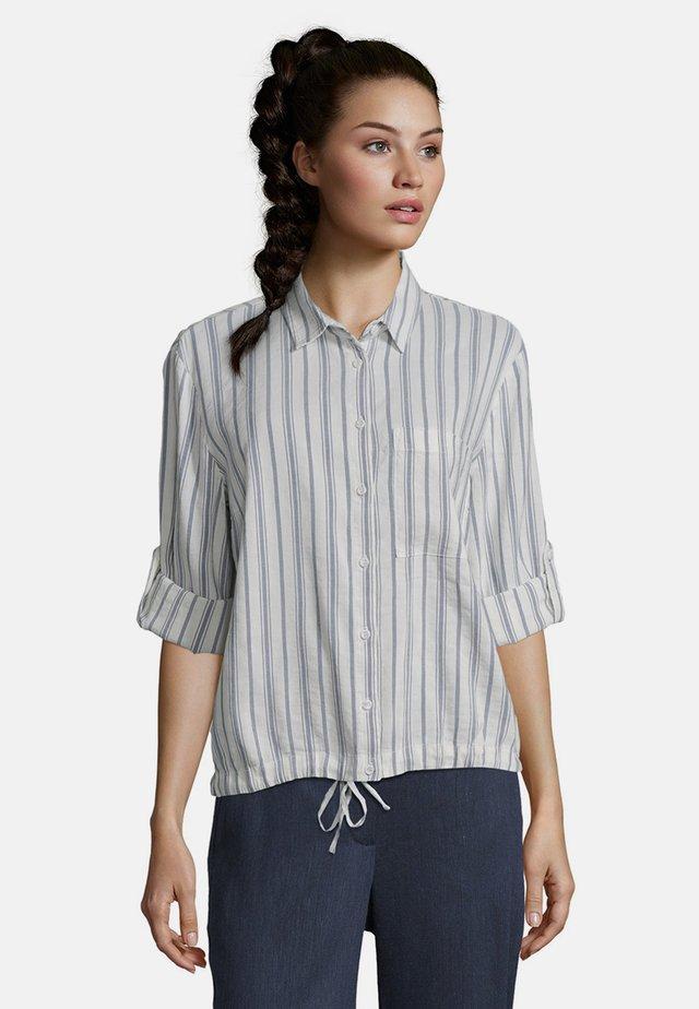 MIT STREIFEN - Button-down blouse - weiß/blau