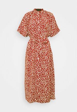 LEOPARD BUTTON DOWN MIDI DRESS - Day dress - red