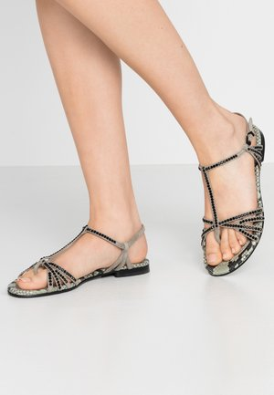 ELLE  - T-bar sandals - shilf/black