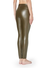 Calzedonia - MIT LEDER-EFFEKT - Leggings - Stockings - grün - 154c - khaki - 1