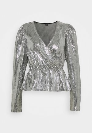 WARREN SEQUINS - T-shirt à manches longues - silver