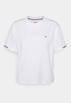 CROP BRANDED TEE - Print T-shirt - white