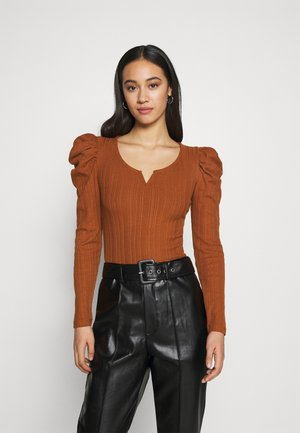 JDYANNA PUFF SLEEVE - Long sleeved top - mocha bisque