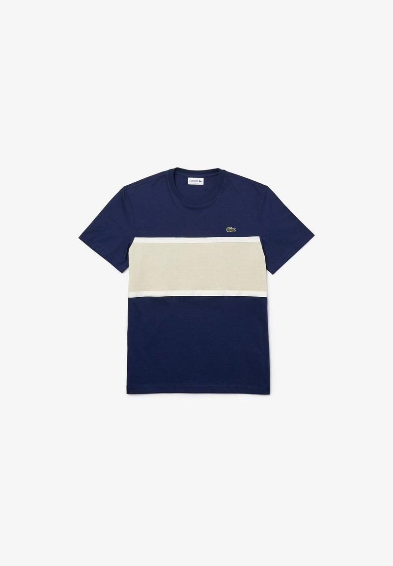 Lacoste - Print T-shirt - blau   beige