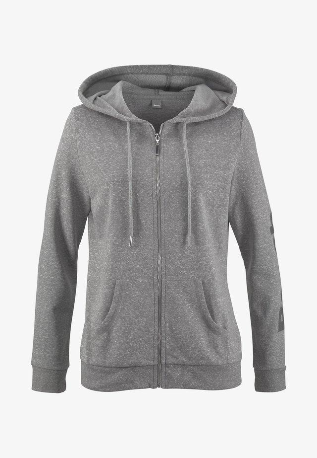 Zip-up hoodie - hellgrau-meliert