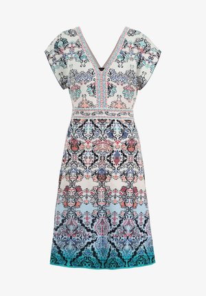 JACQUARD DRESS, - Day dress - blue/beige