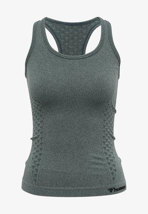 SEAMLESS - Sportshirt - darkest spruce melange