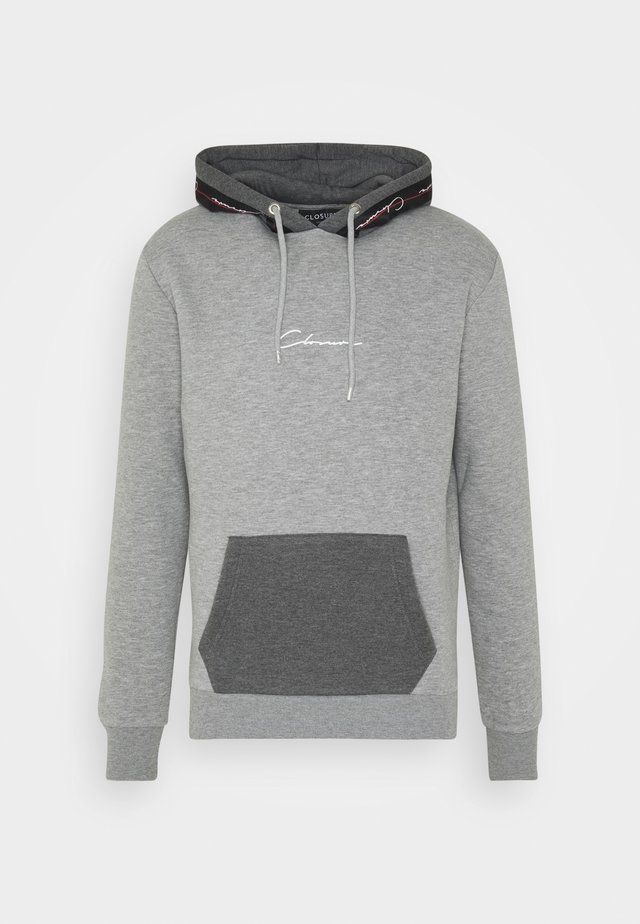 CONTRAST HOOD WITH TAPING - Hoodie - grey