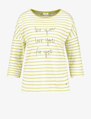 Long sleeved top - beige/white/green
