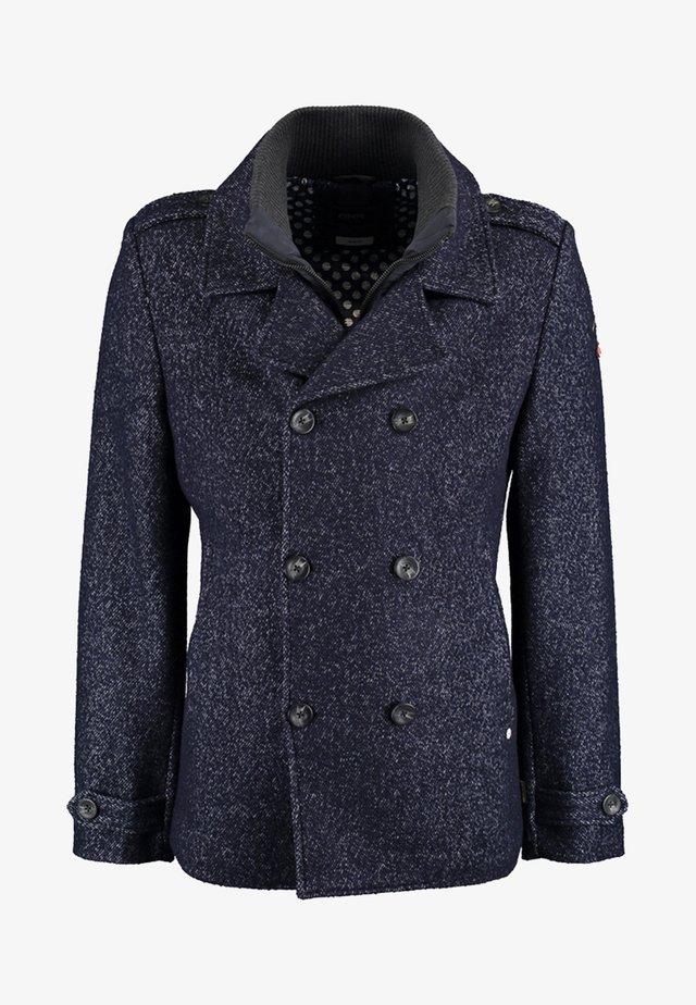 MIT DOPPELTER KNOPFLEISTE UND STEHKRAGEN - Light jacket - mottled dark blue