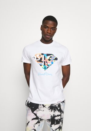 STUART DIAMOND TEE - T-shirt z nadrukiem - white