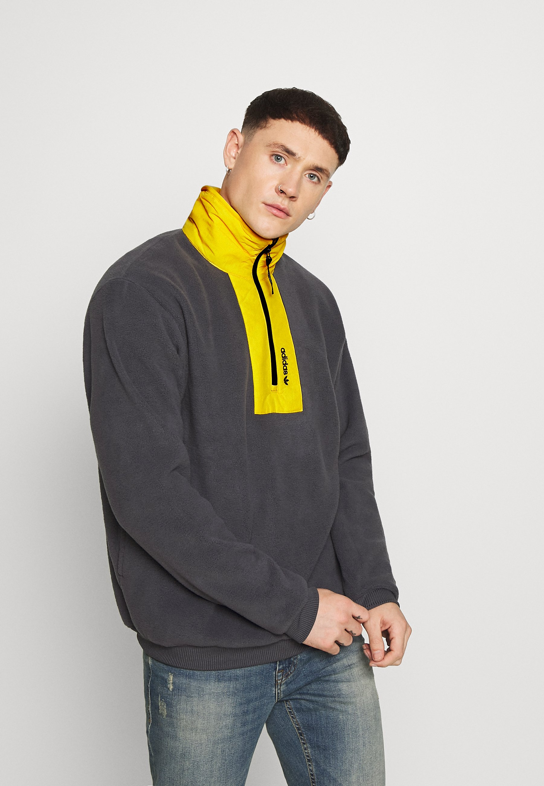 Como fuga Valle  adidas Originals BLOCK - Fleece trui - grey/Grijs - Zalando.be
