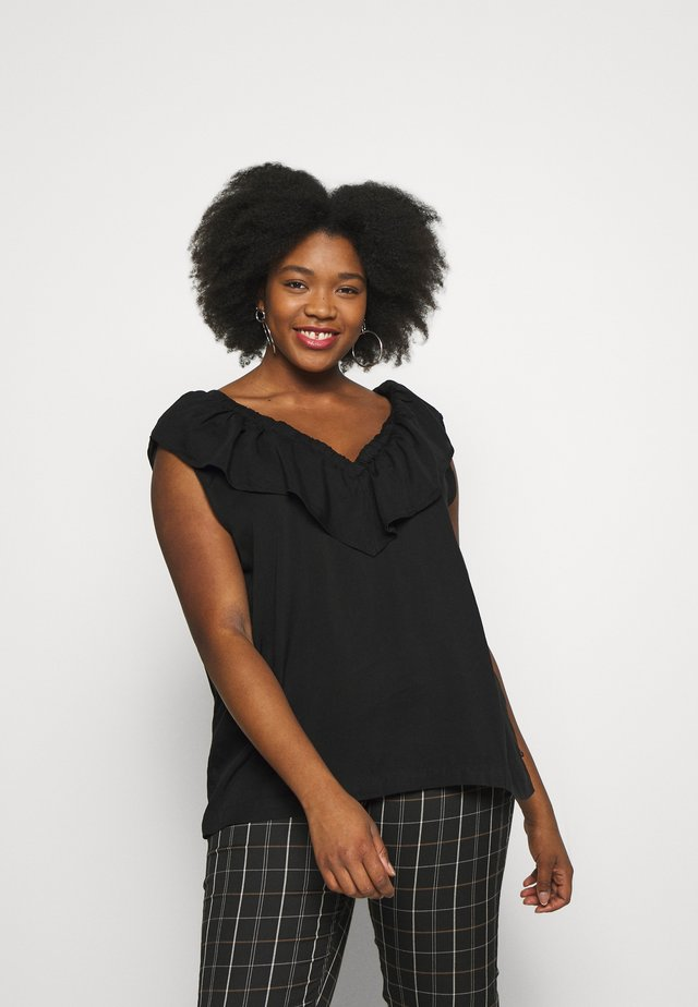 RUFFLE TANK - Blouse - black