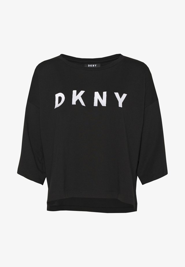 CROPPED OVERSIZED LOGO - T-shirt z nadrukiem - black/ivory